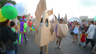 Stock Video Footage of People in creative costumes made ??of cardboard