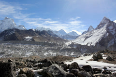 4K. Movement of the clouds on the mountains Everest, Gyazumba Glacier, Himalayas Stock Footage