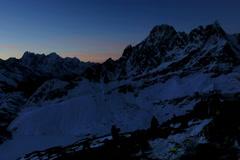 4K. Timelapse sunrise in the mountains Pharilapche peak, Himalayas, Nepal.  Stock Footage