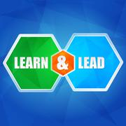 learn and lead in hexagons, flat design - stock illustration
