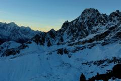 4K. Timelapse sunrise in the mountains Pharilapche peak, Himalayas, Nepal Stock Footage