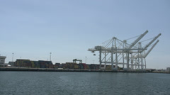 Port of Long Beach, Wharf and cranes Stock Footage