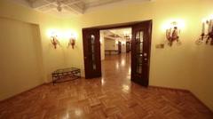 Review beautiful lobby at 5 level of Hotel Hilton Leningradskaya Stock Footage
