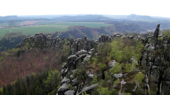 Spring misty evening in attractive nature rock empire park Saxony Switzerland. Stock Footage