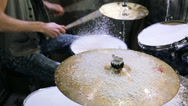 Stock Video Footage of Drummer hits sticks the drums and cymbal covered snow