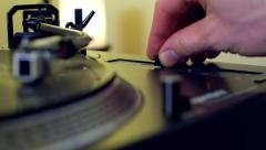 Male Hand Pushing Pitch Control Fader on Retro Turntable Vinyl Stock Footage