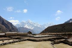 4K. Movement of the clouds on the mountains Thamserku, Kantaiga, Himalayas Stock Footage