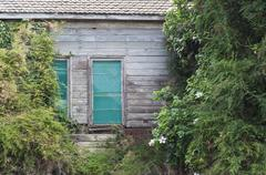 old wood house - stock photo