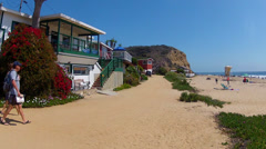Historic Rental Cottages On Beach At Crystal Cove State Park Stock Footage