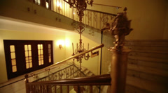 Old styled stairway and lighting in Hotel Hilton Leningradskaya Stock Footage