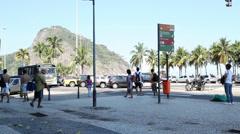 Busstop at copacabana Stock Footage