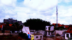 Ruins ,media antenna house clouds building time lapse Stock Footage