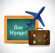 bon voyage or safe trip travel illustration design - stock illustration