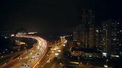 Cityscape with Zhivopisny Bridge, car traffic and tall buildings Stock Footage