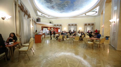 People eat in cafe at Central Academic Theatre of Russian Army - stock footage