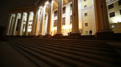 Night outdoor view facade of the Central Academic Theatre - stock footage
