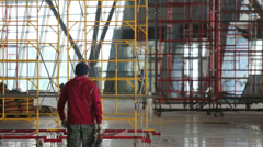Colored scaffolding at construction of new terminal in Vnukovo Stock Footage