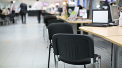 Rows of chairs and tables in car dealership office. Stock Footage
