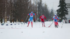 Skiers during FIS Continental Cup ski racing - stock footage