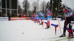 Male skier start race during FIS Continental Cup ski racing Stock Footage