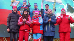 Winners of FIS Continental Cup ski racing in category city-event Stock Footage