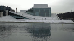 Timelapse The Oslo Opera House winter Stock Footage