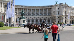 The Hofburg palace in Michaelerplatz square circa  in Vienna, - stock footage
