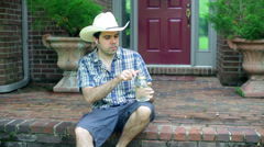 Drinking moonshine drink alcohol 1 Stock Footage