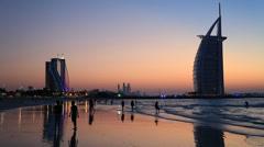 The world's first seven stars luxury hotel Burj Al Arab Stock Footage