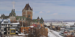 Quebec city parlement during winter Stock Footage