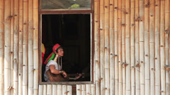 Padaung Women Window Stock Footage