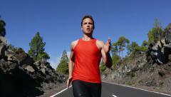 Running runner man Stock Footage