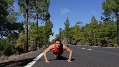 Push ups exercise man training pushup Stock Footage