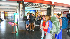 Tourist information in train station Stock Footage