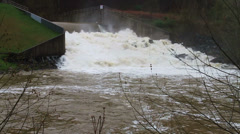 1469 Dam at Flood Stage White Water Rapids, Slow Motion Stock Footage