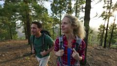 Hiking people - hiker couple Stock Footage