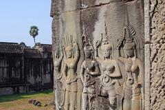 Apsaras - carvings of khmer dancing girls in angkor wat, cambodia Stock Photos