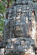 bayon - ancient khmer temple in angkor, cambodia. unesco world heritage site - stock photo