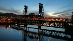 Traffic on Steel Bridge in Portland OR Downtown Blue Hour with Water Reflection Stock Footage