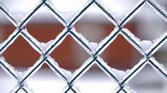 Frozen Fence In Winter Close Up - stock footage