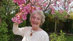 Senior woman smells cherry tree blossom and smiles in her garden Stock Footage