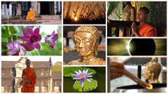 Buddhism collage, peace, meditation, positivity Stock Footage