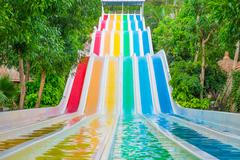Colorful waterslides in water park, vietnam, southeast asia Stock Photos