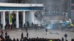 "Protest against ""Dictatorship"" in Ukraine turns violent on Euromaydan in Kiev. Stock Footage"