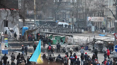 "Protest against ""Dictatorship"" in Ukraine turns violent on Euromaydan in Kiev. - stock footage"