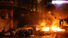 "Protest against ""Dictatorship"" in Ukraine turns violent on Euromaydan in Kiev. Stock Footage"