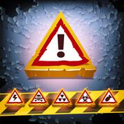 Stock Illustration of grunge vector background with warning signs