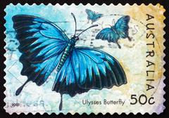 Stock Photo of Postage stamp Australia 2003 Ulysses Butterfly