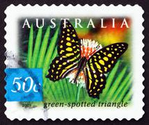 Stock Photo of Postage stamp Australia 2003 Green-spotted Triangle Butterfly