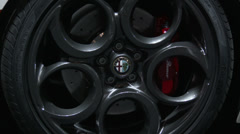 Detail of Alfa Romeo 4C wheel at the New York International Auto Show Stock Footage